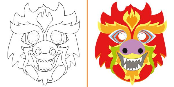 Maschera da drago da stampare gratis