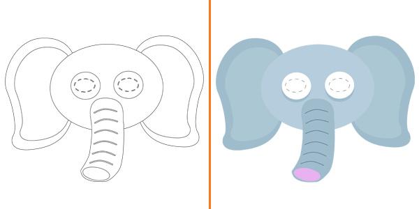 Maschera da elefante da stampare gratis