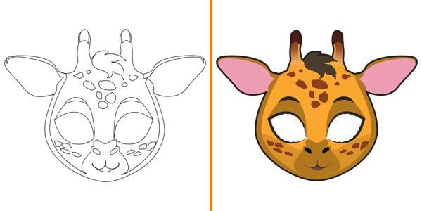Maschera da giraffa da stampare, colorare e ritagliare