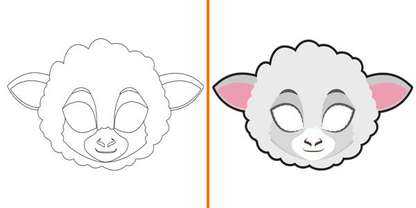 Maschera da pecora da stampare, colorare e ritagliare