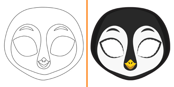 Maschera da pinguino da stampare, colorare e ritagliare