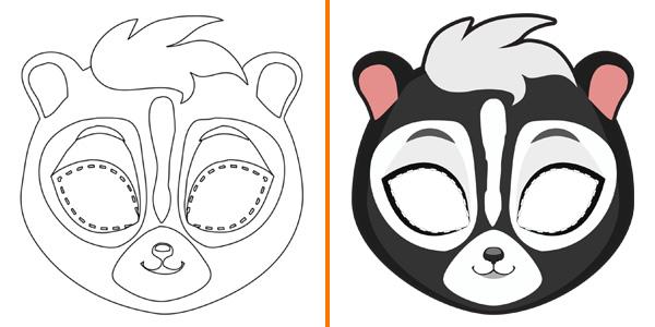 Maschera da puzzola da stampare, colorare e ritagliare