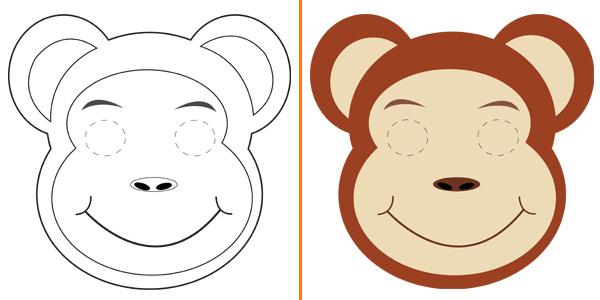 Maschera da scimmia da stampare gratis