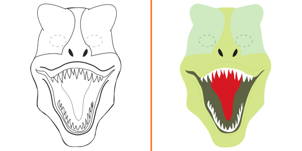 Maschera da tirannosauro da stampare gratis