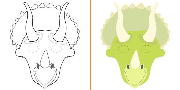 Maschera da triceratopo da stampare gratis