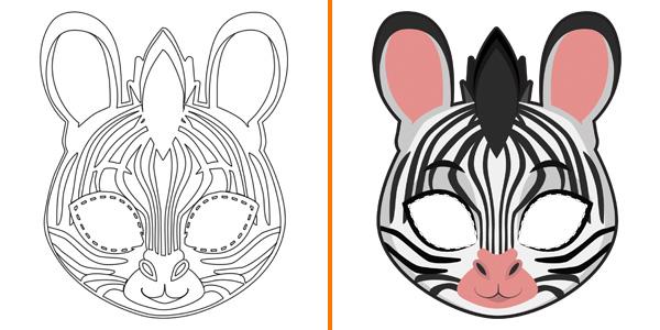 Maschera da zebra da stampare, colorare e ritagliare