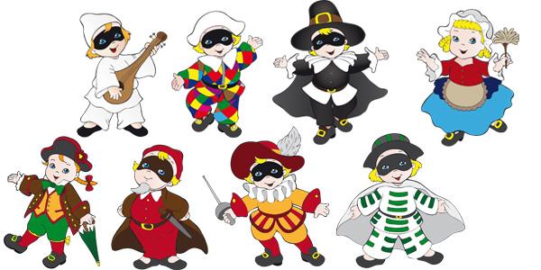 Maschere di carnevale italiane in versione bambini da for Maschere di carnevale tradizionali da colorare per bambini da stampare
