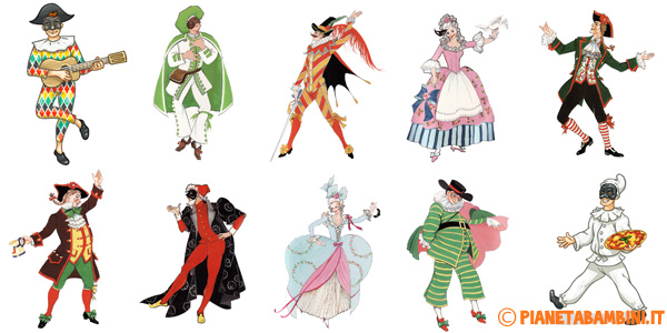 Maschere di carnevale italiane tradizionali da stampare for Maschere di carnevale tradizionali da colorare per bambini da stampare