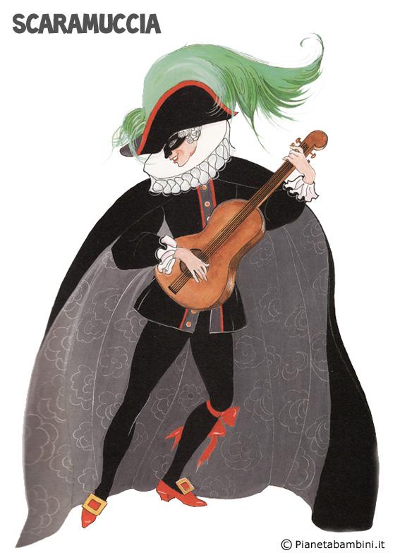 Maschera di Scaramuccia da ritagliare