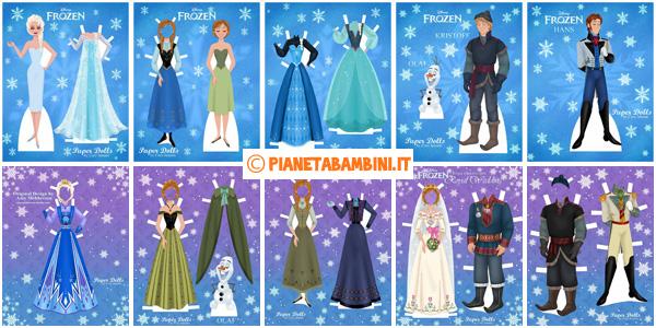 Bambole di carta di Frozen da stampare gratis
