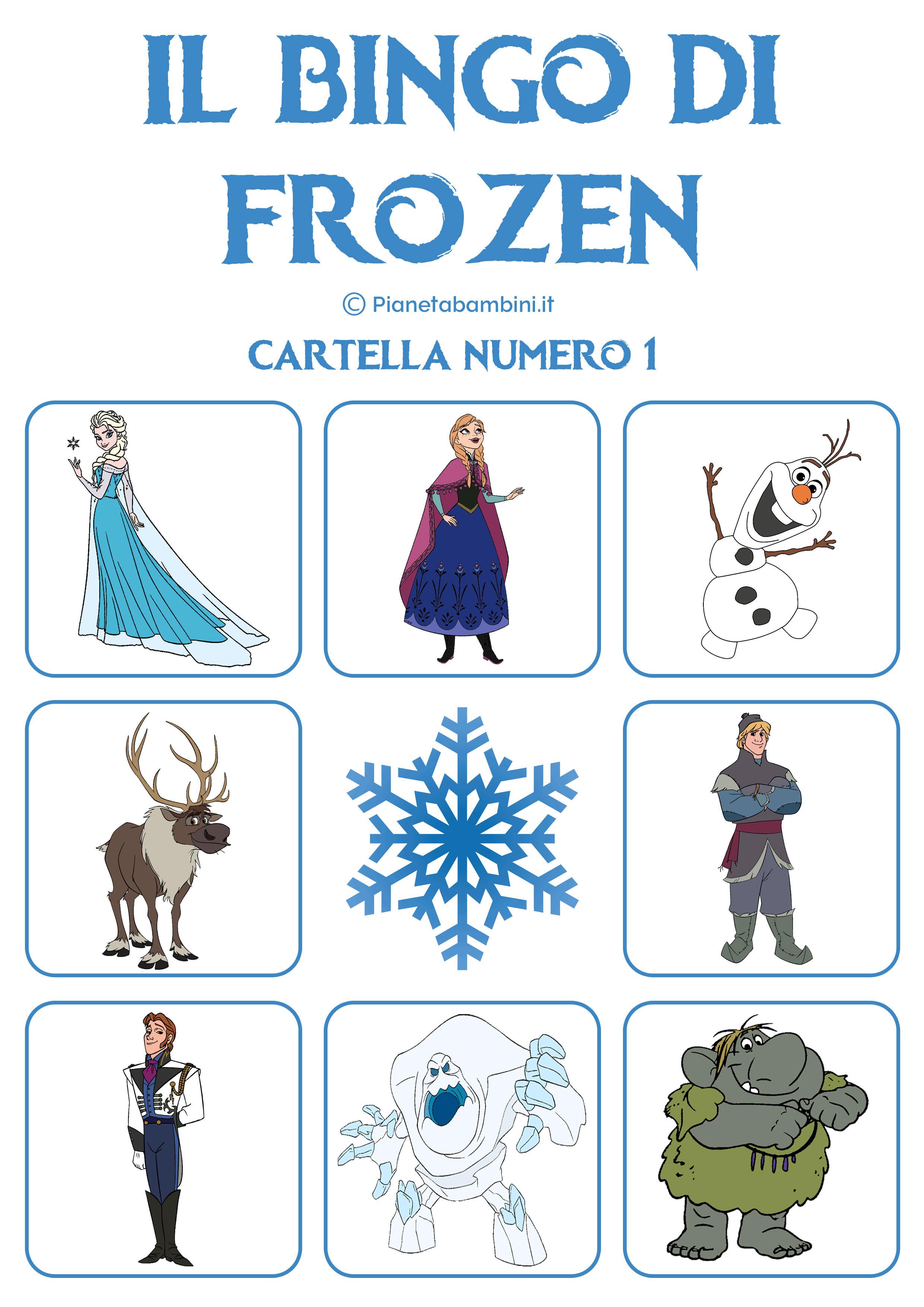 Gioco bingo di frozen da stampare gratis - Giocare giochi da colorare gratis ...