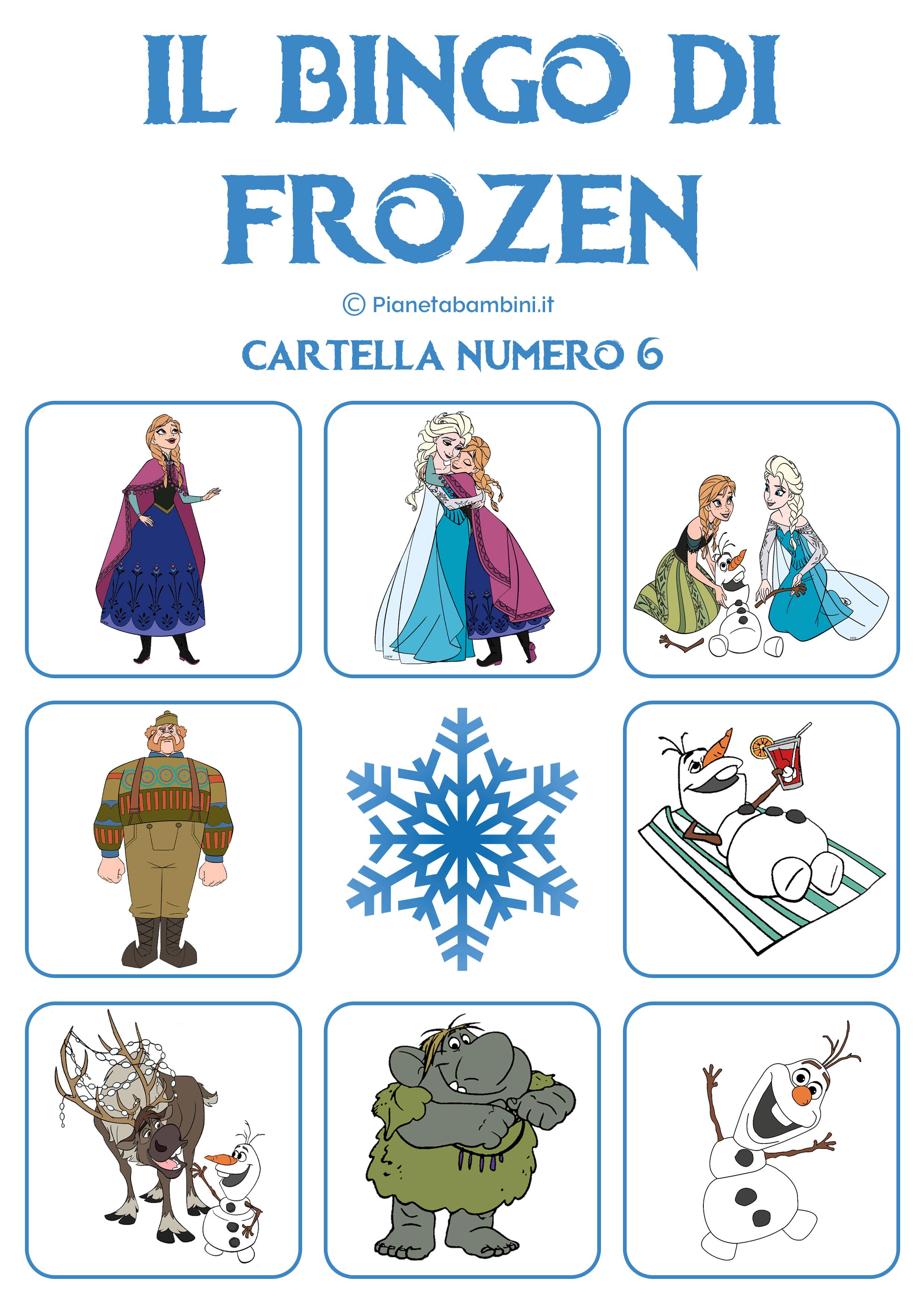 Gioco Bingo Di Frozen Da Stampare Gratis Pianetabambini It