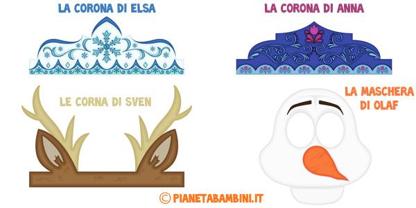 Corone e maschere di Frozen da stampare gratis per feste