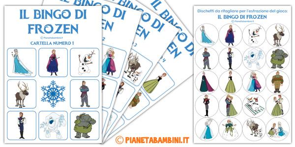 Bingo di Frozen da stampare gratis per bambini