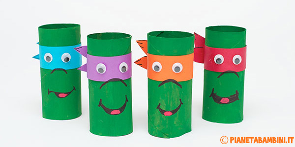 Tartarughe ninja creare con rotoli di carta