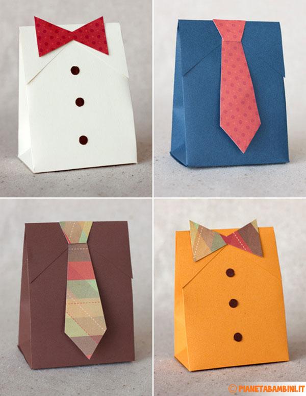 Vari modelli di scatoline regalo fai da te per la festa del papà