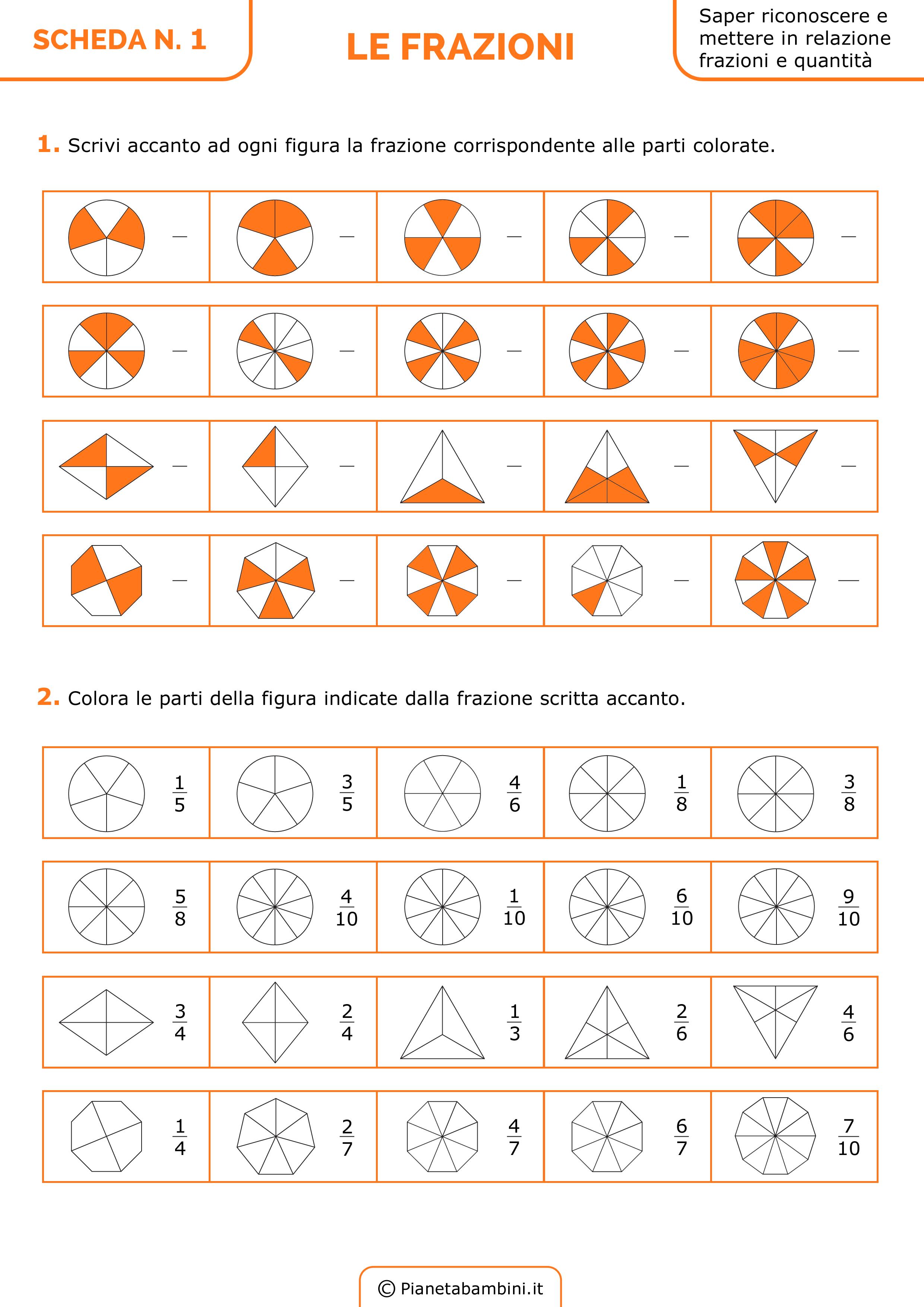 Estremamente Esercizi sulle Frazioni da Stampare per la Scuola Primaria  ZN71