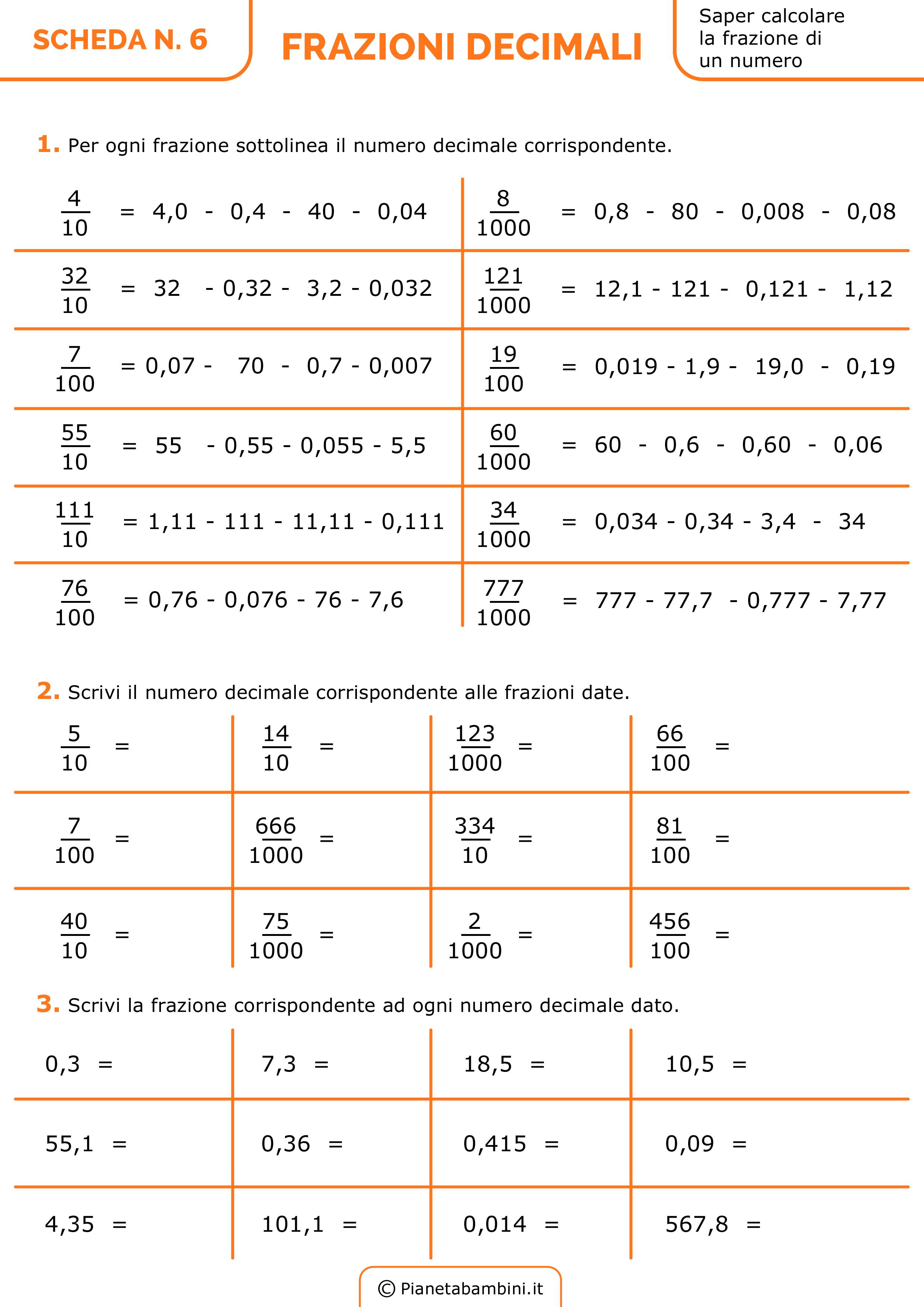 Numeri decimali in frazioni scuola primaria