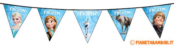 Striscione da stampare gratis con bandierine di Frozen