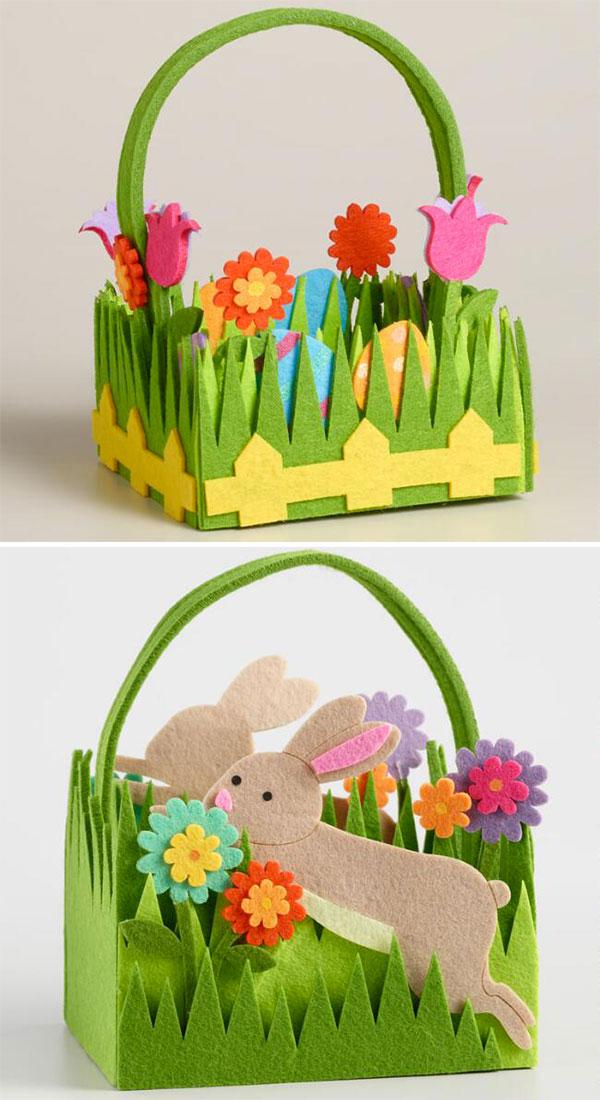 Come creare dei cestini di Pasqua in feltro con fiori e conigli