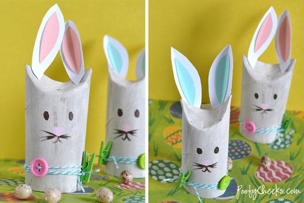 Coniglietti pasquali con rotoli di carta igienica