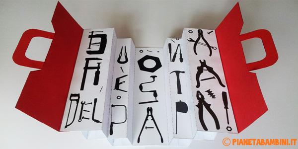 Cassetta degli attrezzi di carta da creare per la festa del papà