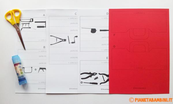 Occorrente per la creazione della cassetta degli attrezzi di carta