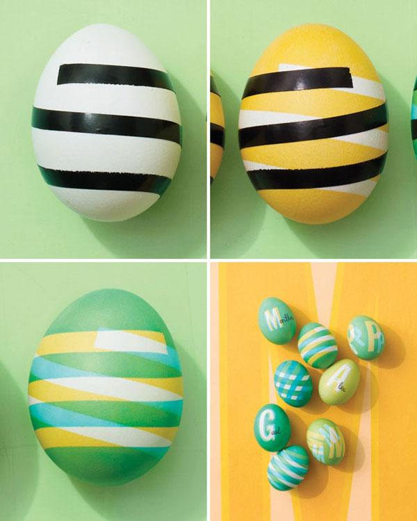 Uova di Pasqua decorate con colori sovrapposti