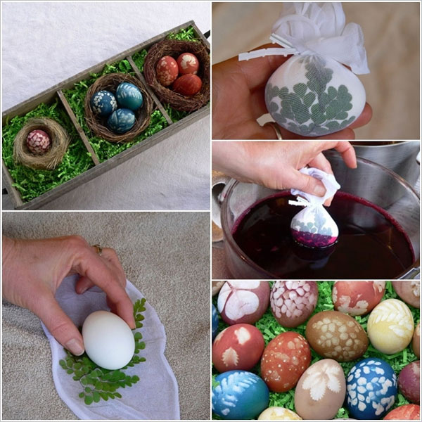 Uova di Pasqua decorate con il the ed i rametti