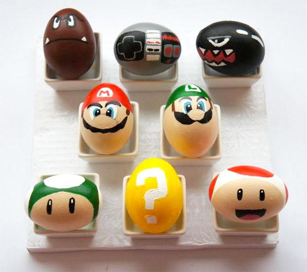 Uova di Pasqua decorate in versione Super Mario