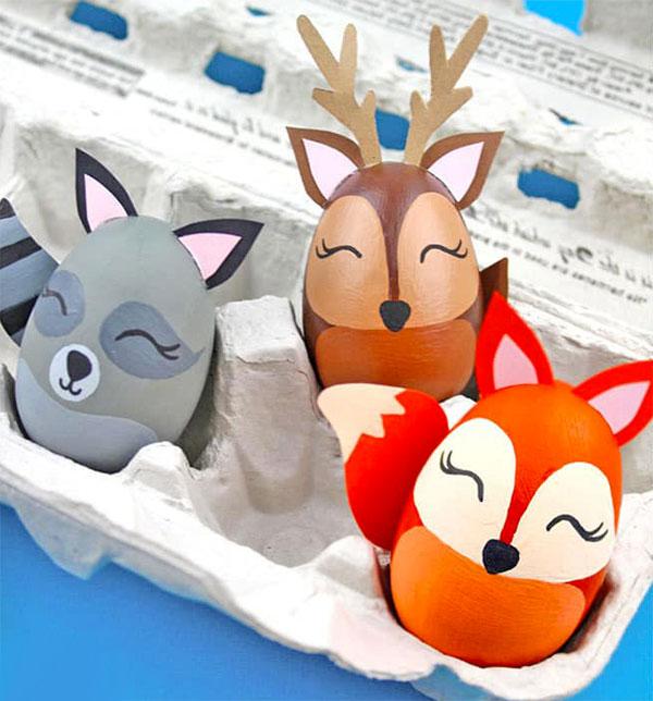 Uova di Pasqua decorate in versione animali del bosco