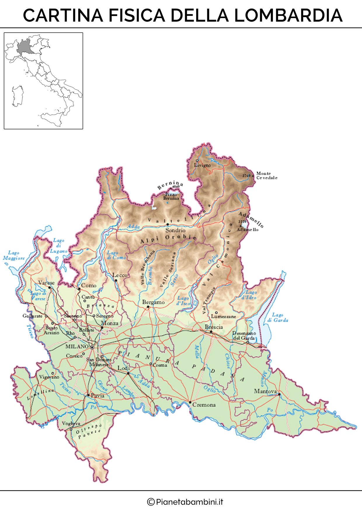 Cartina fisica della Lombardia da stampare gratis