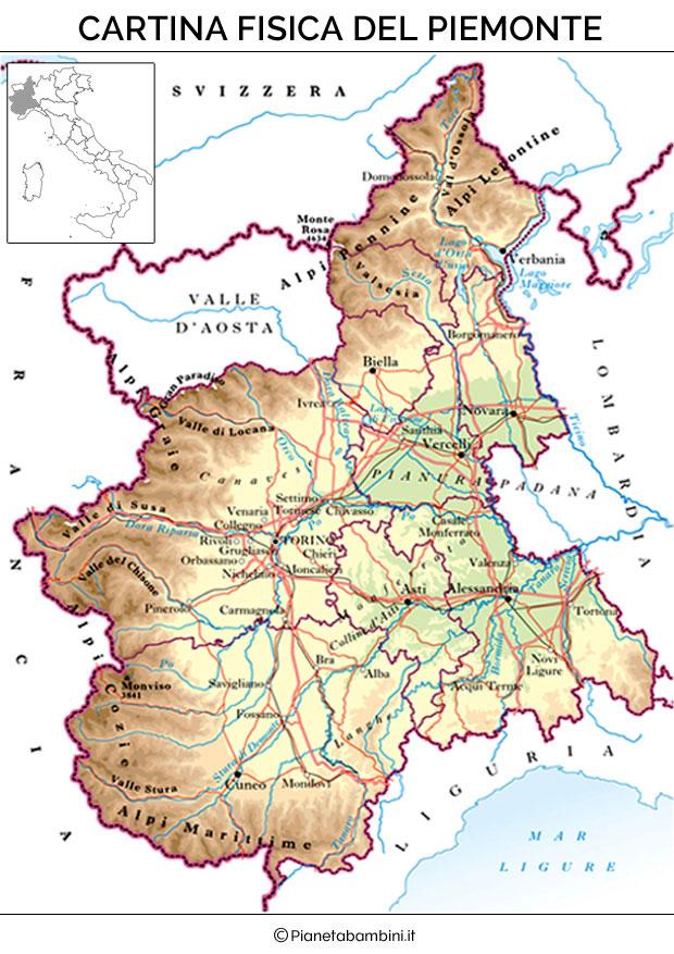 Cartina del Piemonte fisica da stampare gratis