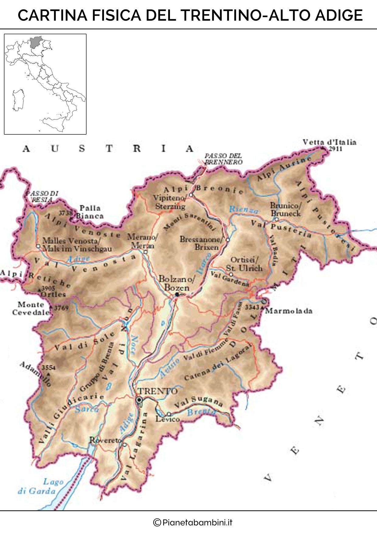 Cartina fisica del Trentino Alto Adige da stampare gratis
