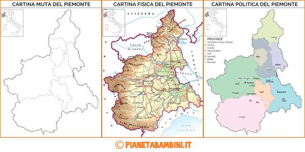 Cartina del Piemonte muta, fisica e politica da stampare gratis