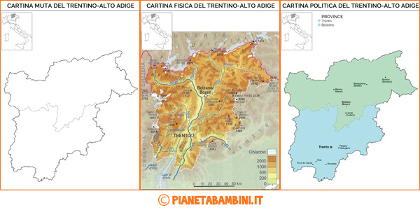Cartina del Trentino Alto Adige muta, fisica e politica da stampare gratis