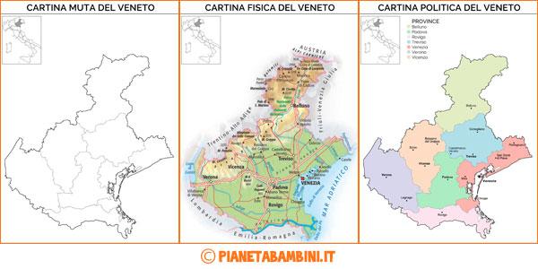 Cartina del Veneto in versione muta, fisica e politica da stampare gratis