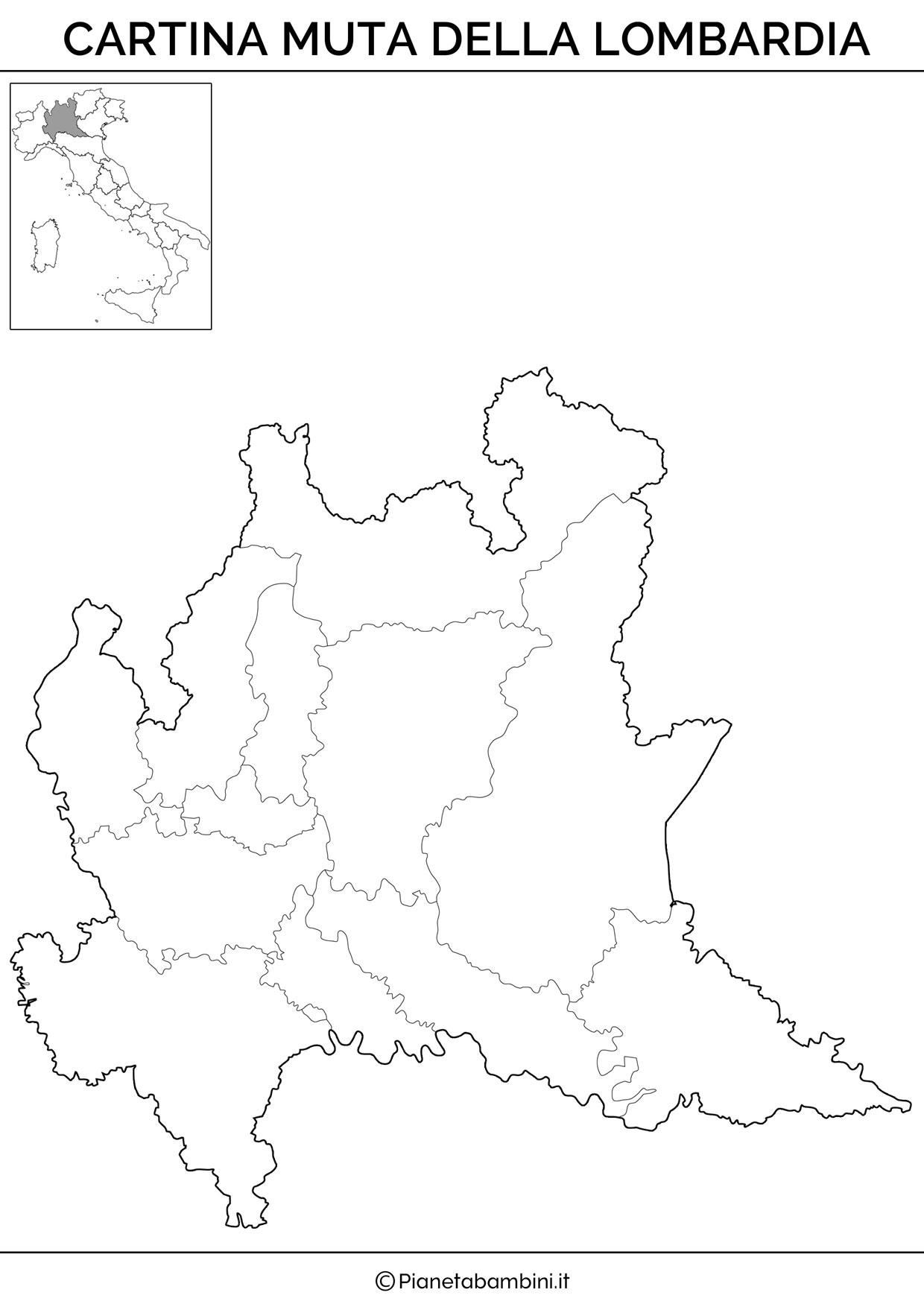 Cartina muta della Lombardia da stampare gratis