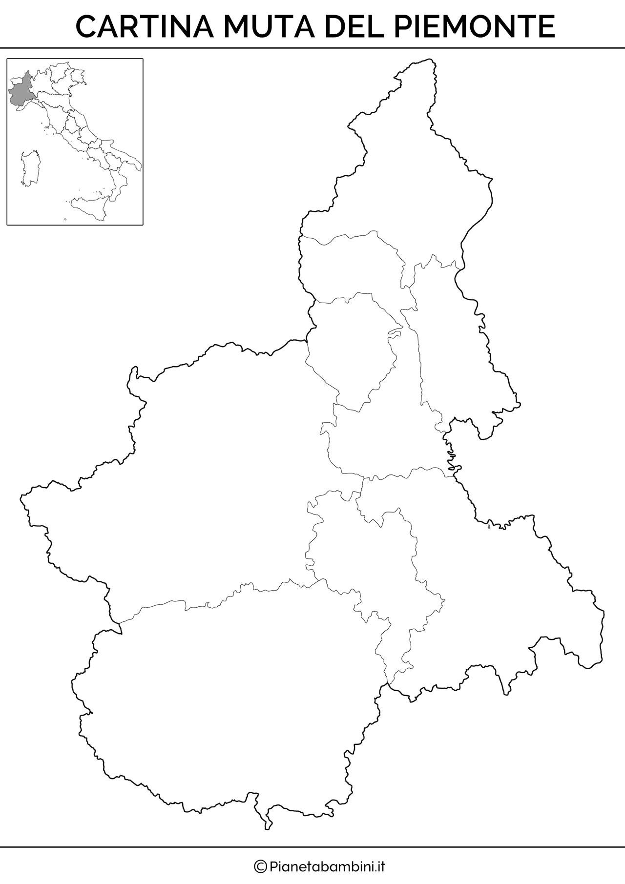 Eccezionale Cartina Muta, Fisica e Politica del Piemonte da Stampare  FV11