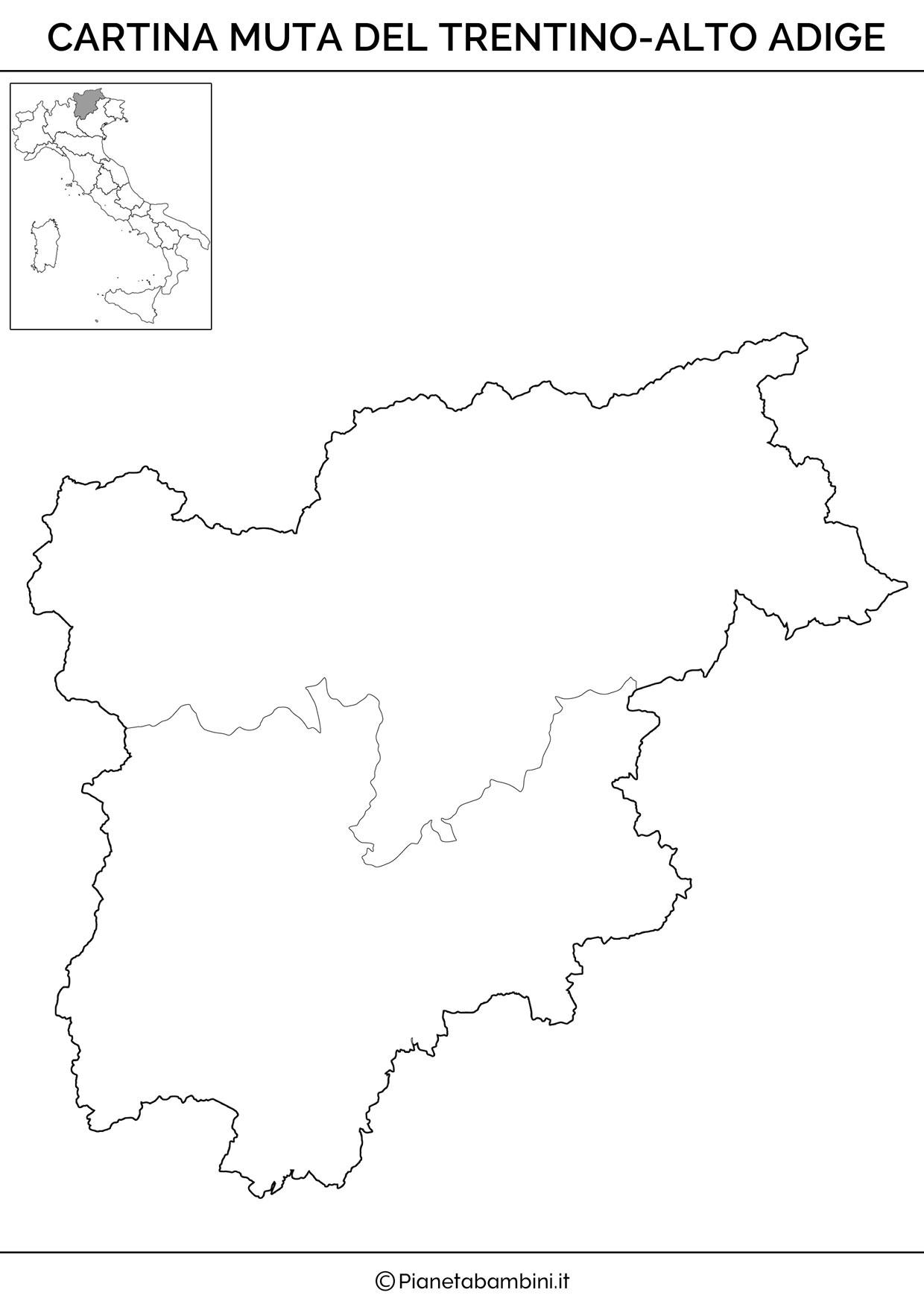 Cartina muta del Trentino Alto Adige da stampare