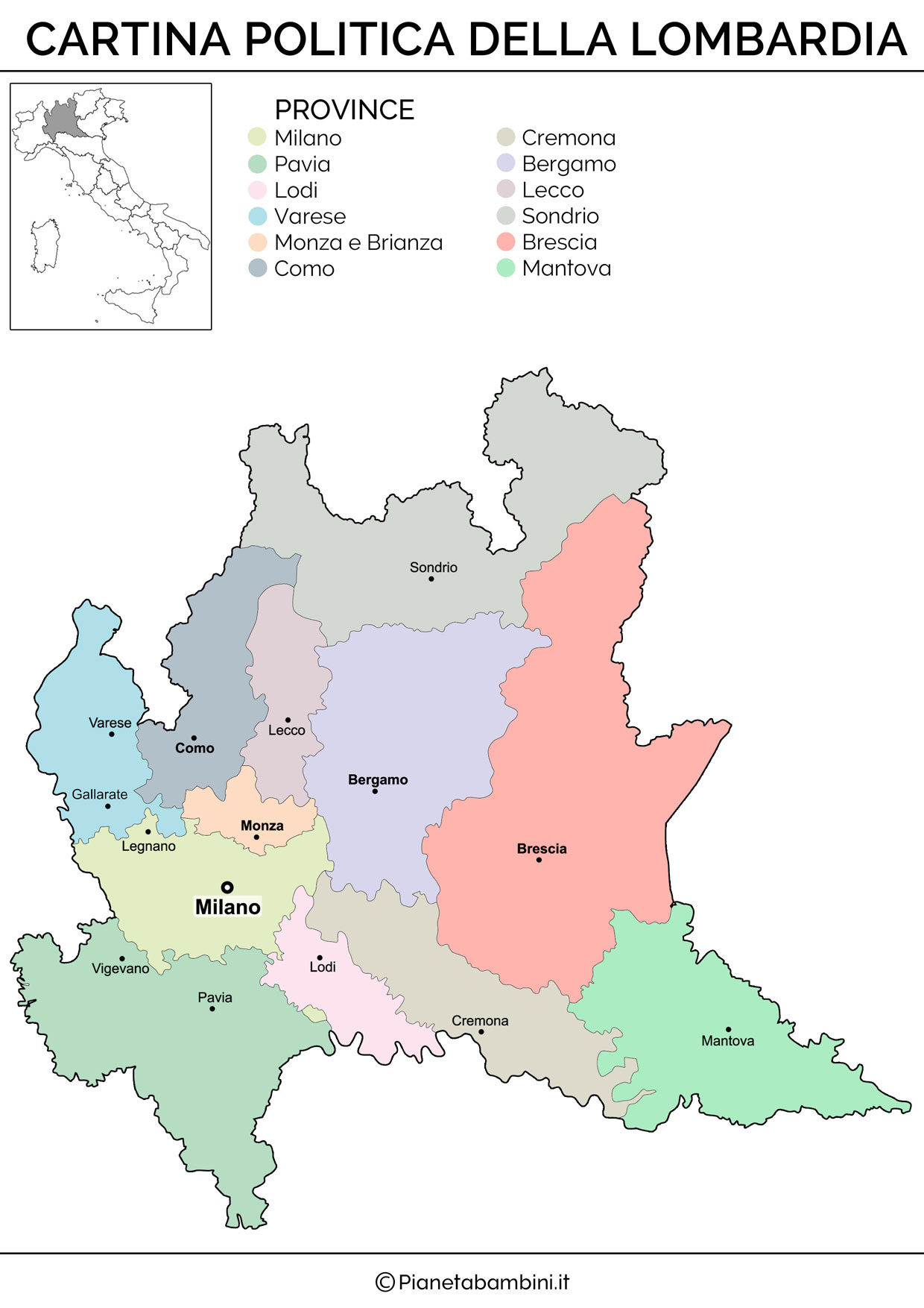 Cartina Lombardia.Cartina Muta Fisica E Politica Della Lombardia Da Stampare