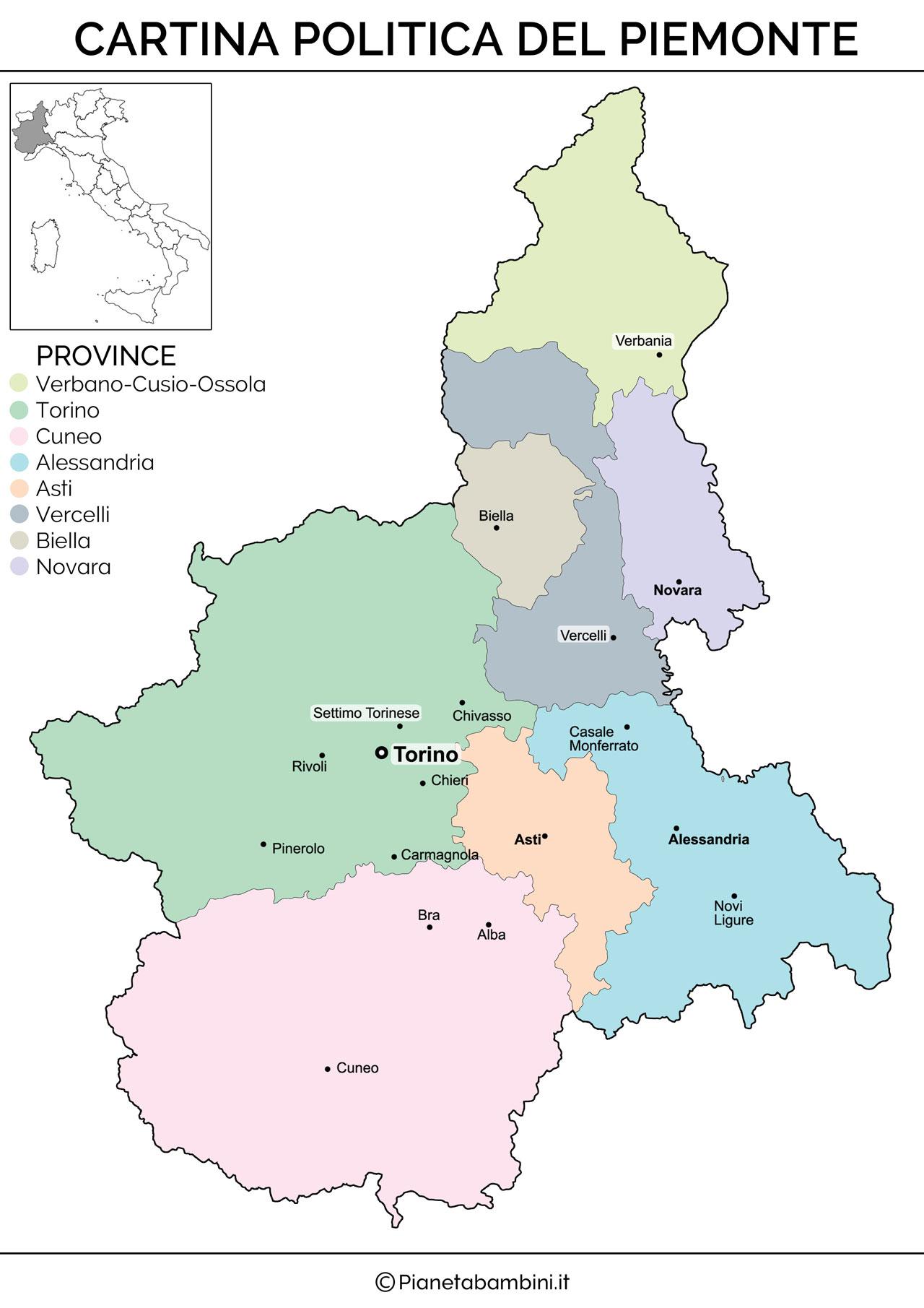 Cartina del Piemonte politica da stampare gratis