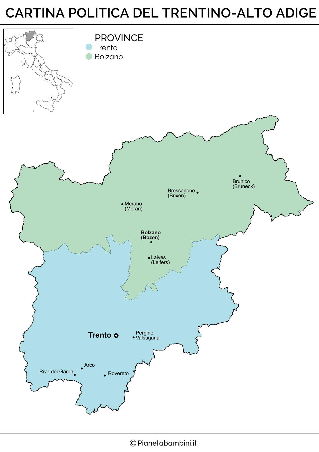 Cartina politica del Trentino Alto Adige da stampare gratis