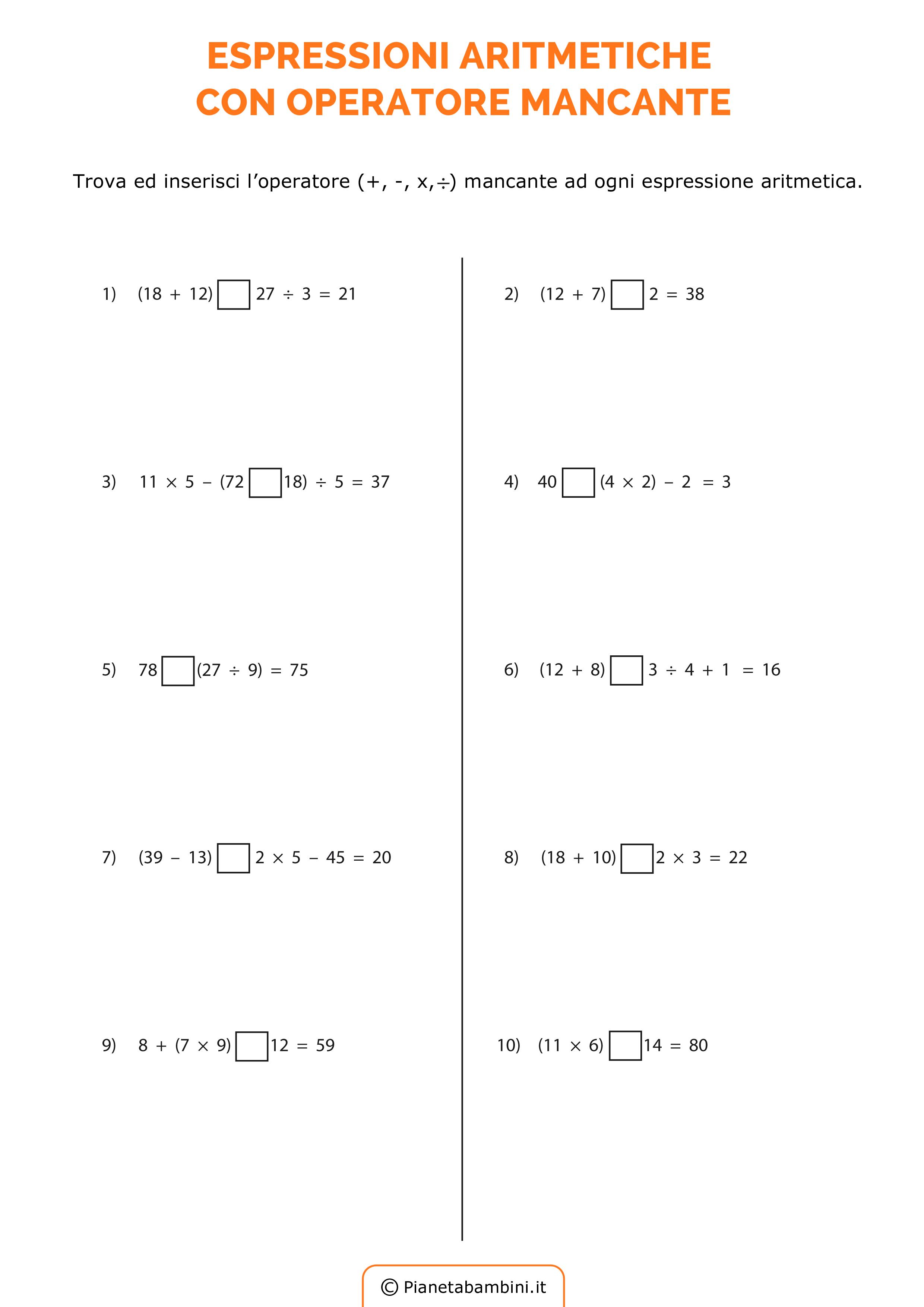 Espressioni aritmetiche esercizi da stampare e