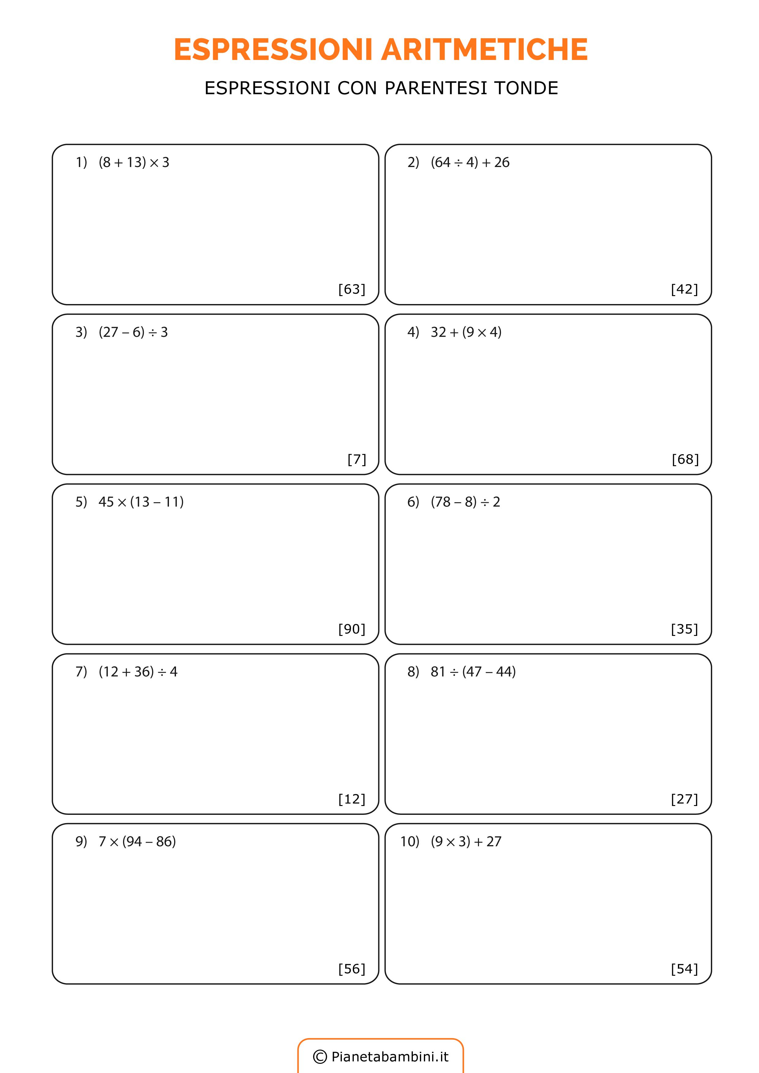 Espressioni aritmetiche esercizi da stampare e da - Stampare pagine da colorare ...
