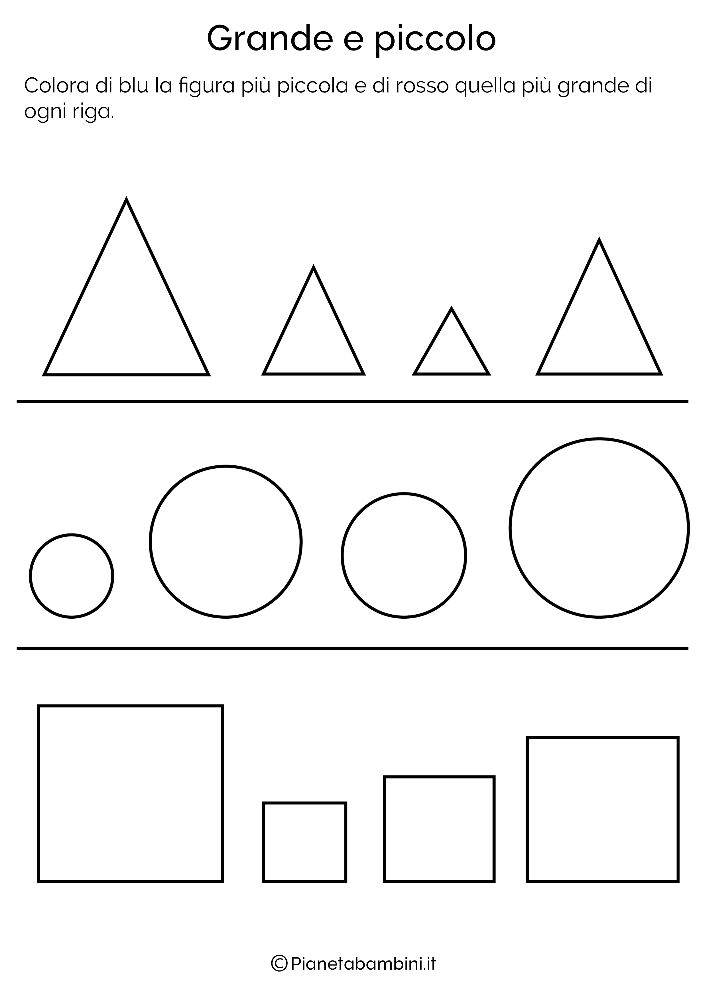 Esercizi Per Imparare A Confrontare Le Dimensioni Per