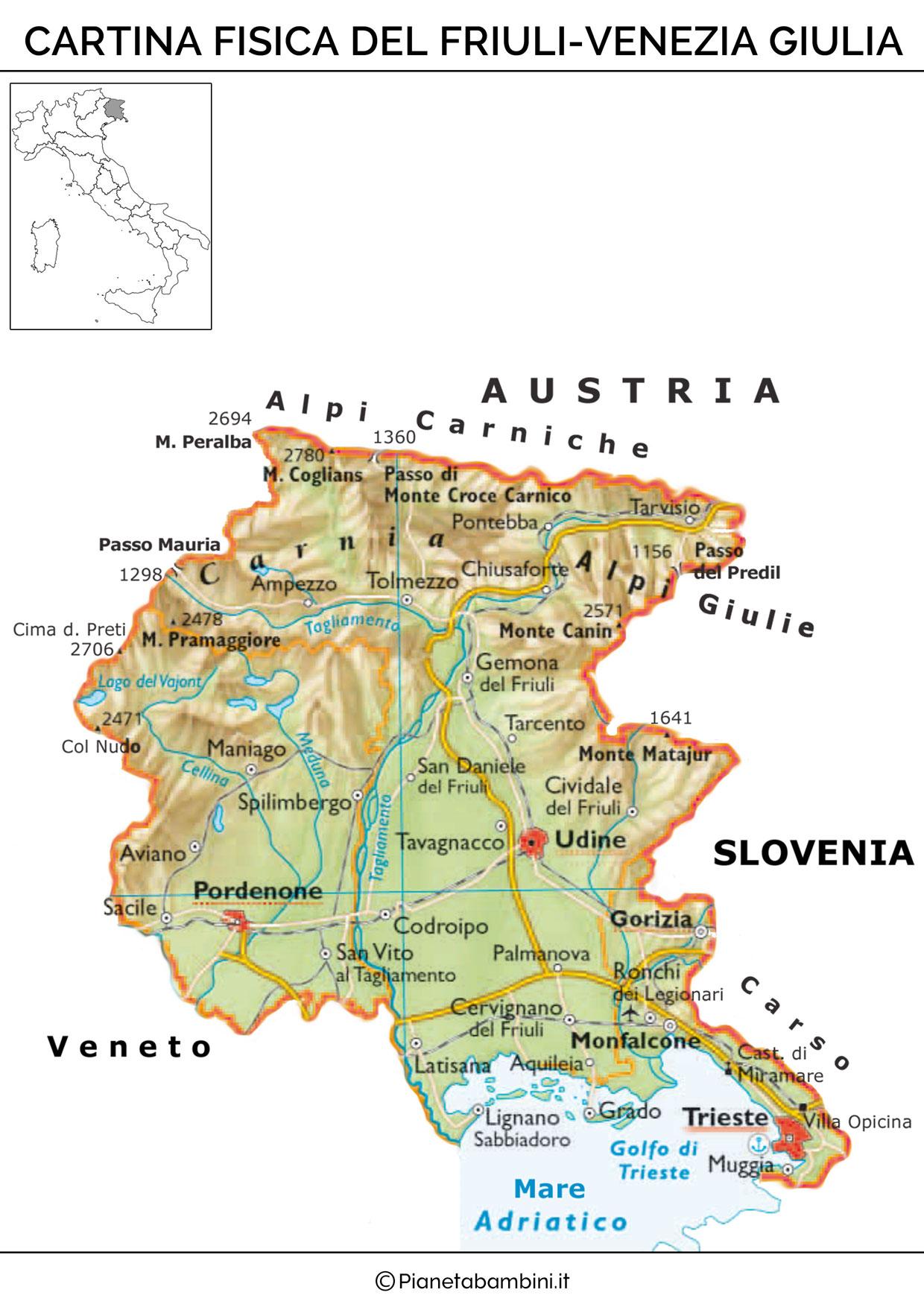 Cartina fisica del Friuli Venezia Giulia da stampare gratis