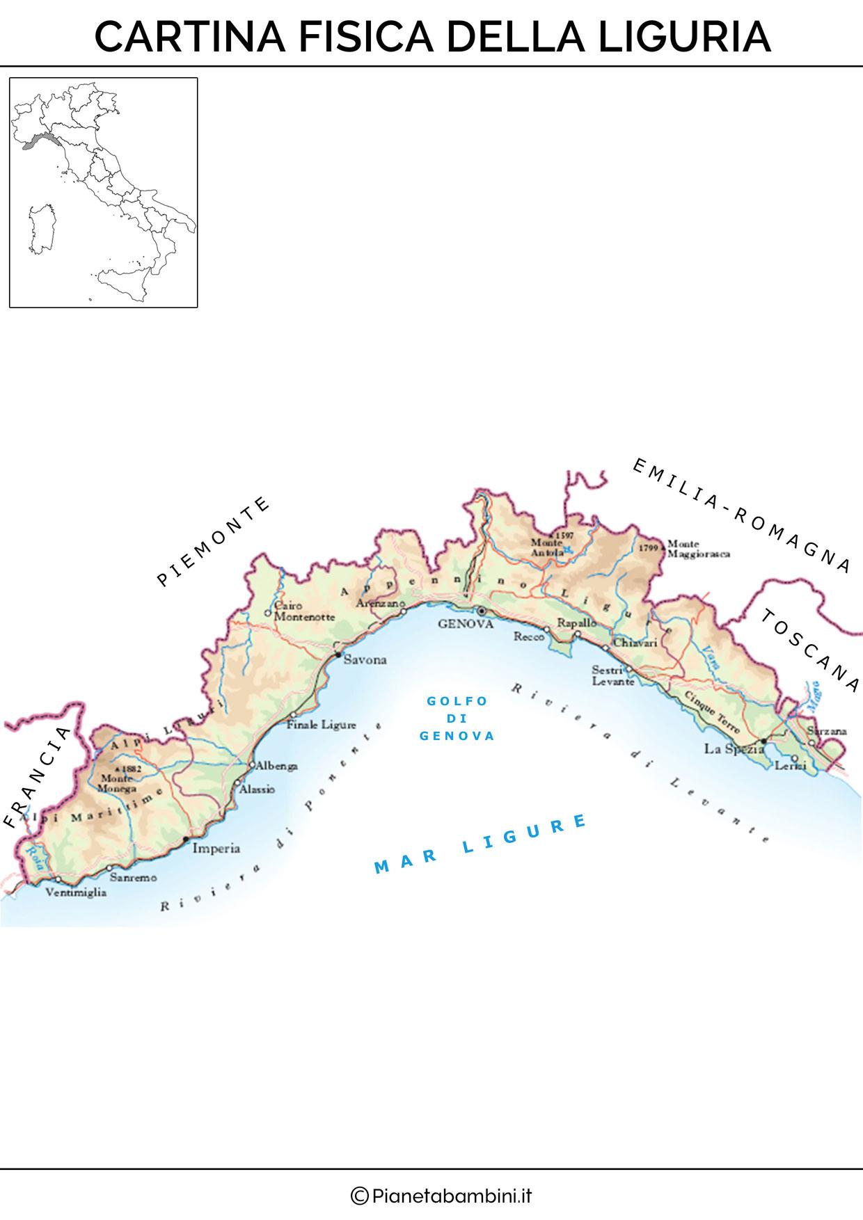 Cartina fisica della Liguria da stampare gratis