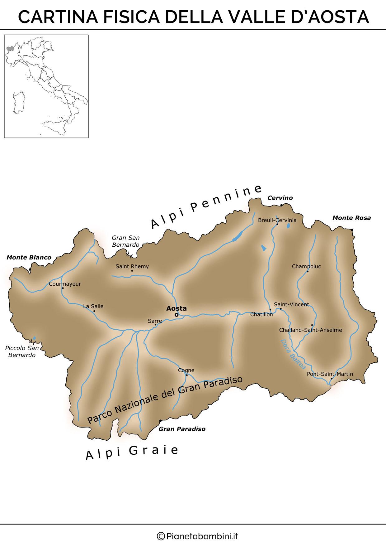 Cartina fisica della Valle D'Aosta da stampare gratis