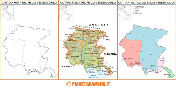 Cartina del Friuli muta, fisica e politica da stampare gratis